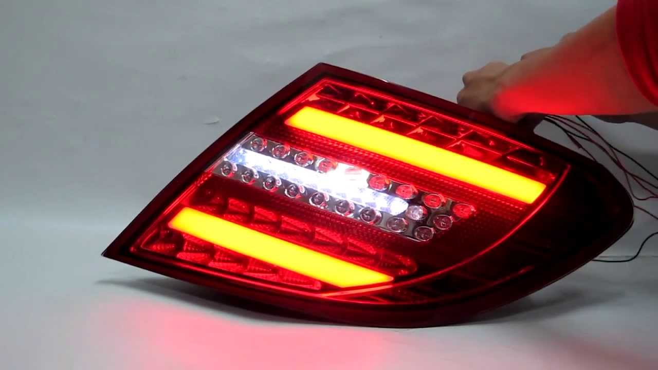 W204 2008 2013 sedan led tail rear light red clear w le for Led light for mercedes benz