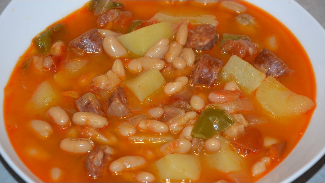 Potaje de jud as blancas con chorizo en olla express youtube - Judias con chorizo y patatas ...