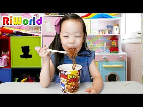[20분] 리원이의 아빠 몰래 뽀로로 짜장면 주방놀이 장난감으로 요리놀이! 마트 장보기 Pororo Noodle eating