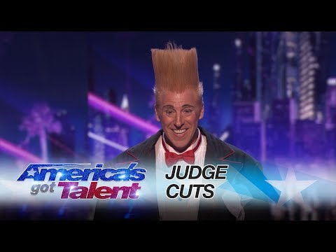Bello Nock: Circus Daredevil Is Shot Out Of Cannon Over Helicopter - America's Got Talent 2017