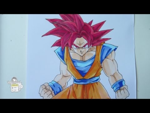 How to draw Goku Super Saiyan God 超サイヤ人ゴッド
