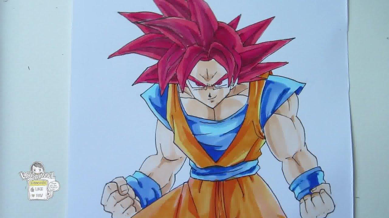 how to draw goku super saiyan god youtube