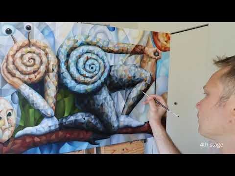Surreal cubist painting. Creative flow. The making of the original artwork