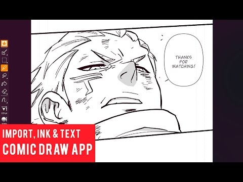 Import, Ink, Add Text Balloons in Comic Draw App