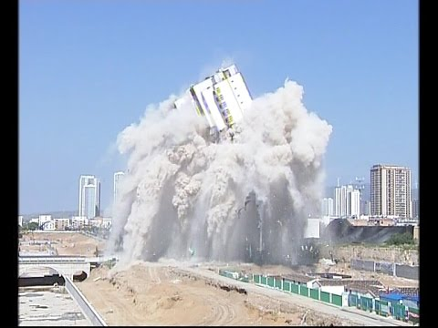 90-meter-high building demolished in N China