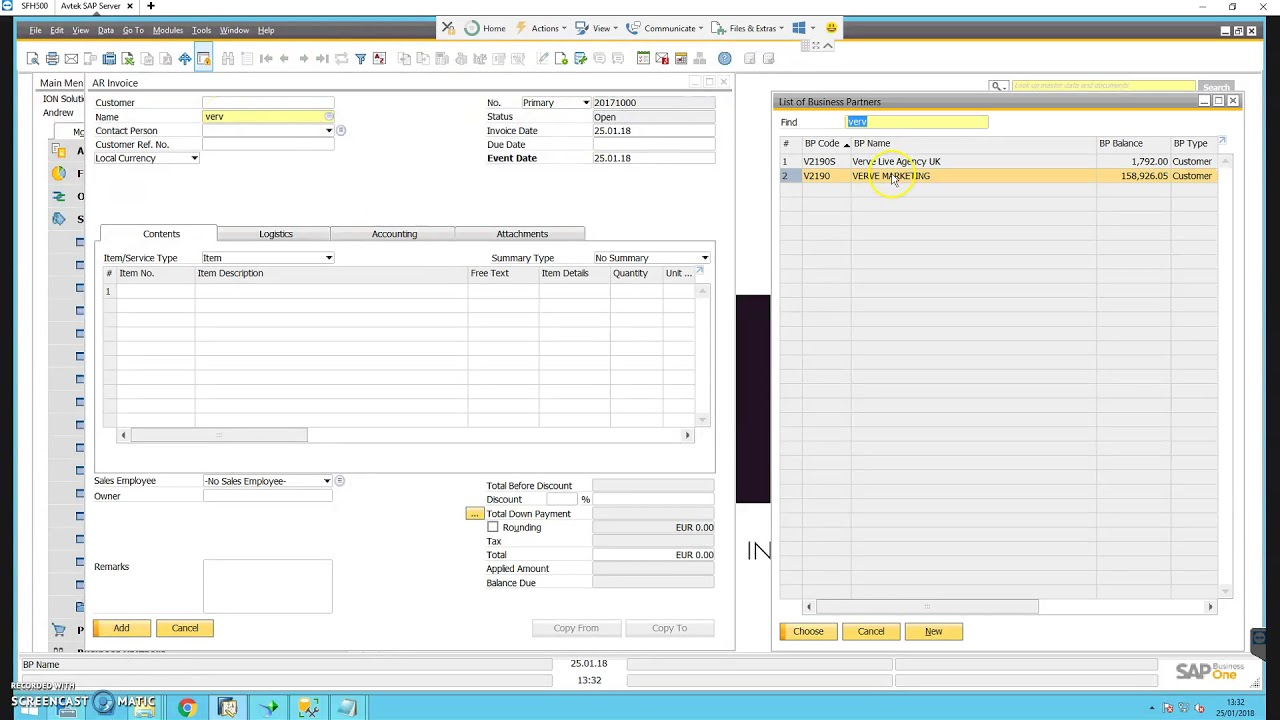 SAP B1 combine multiple sales orders into one invoice