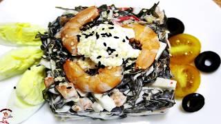 Как приготовить салат из морской капусты и крабовыми палочками, креветками и яйцом