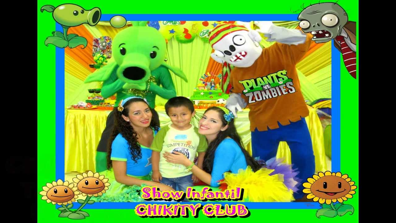 Show infantil de plantas vs zombies chikity club youtube for Decoracion con globos plantas contra zombies