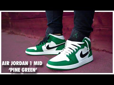 419dc467799 Air Jordan 1 Mid  Pine Green  - YouTube