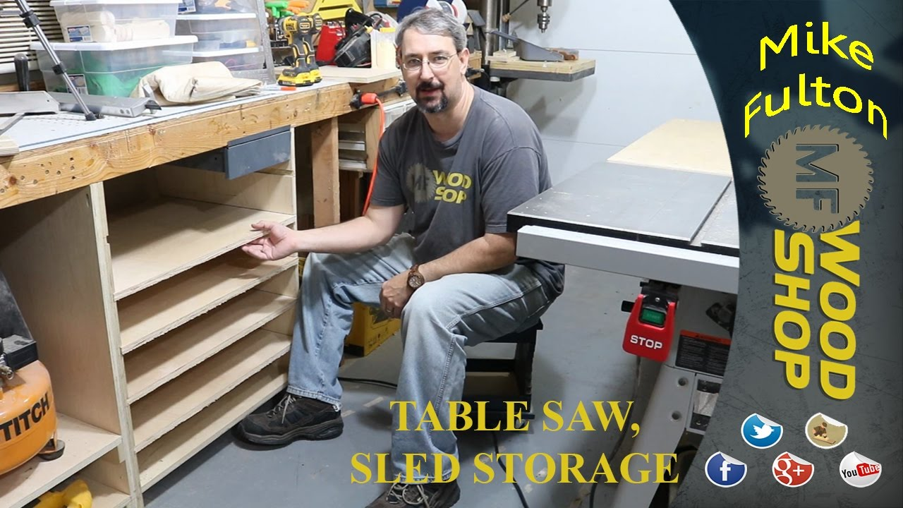 Table Saw Sled Storage Cabinet Youtube