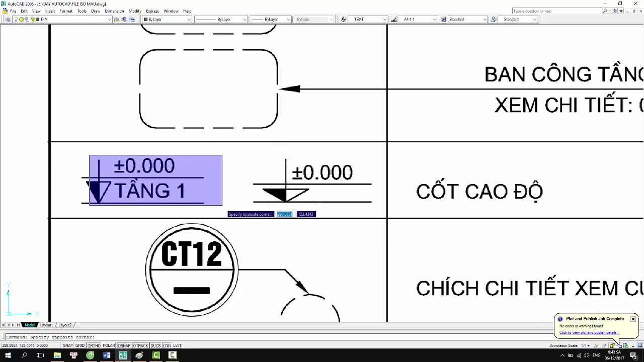 [CAD FULL 44]  Bài 15 – 15.5.1 – Đọc ký hiệu bản vẽ