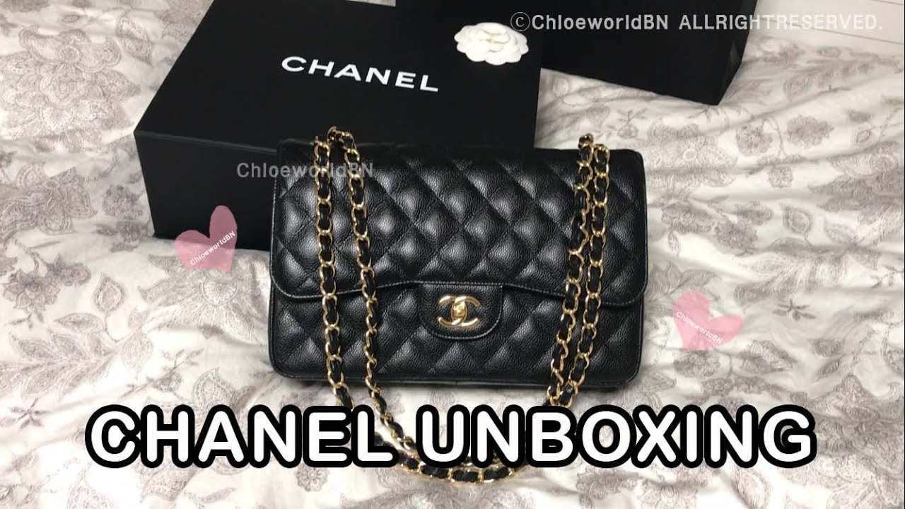 CHANEL Classic Flap Jumbo Unboxing, Black Caviar Gold