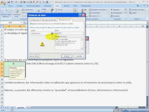 Mensajes de error en validaciones de datos en EXCEL