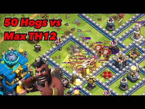 TH12 Mass Hogrider Vs Damage Clan Castle Troops! 3-Star Attack Strategy