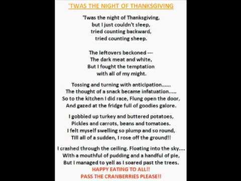 Twas the night of thanksgiving thanksgiving poem youtube