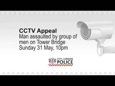 Shocking CCTV of man being kicked and punched by gang on Tower Bridge