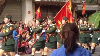 Khối nữ sĩ quan thông tin diễu binh 02/09/2015
