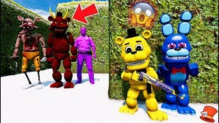 CAN ADVENTURE GOLDEN FREDDY & BONNIE HIDE FROM THE ZOMBIE & DEVIL ANIMATRONICS? (GTA 5 RedHatter)