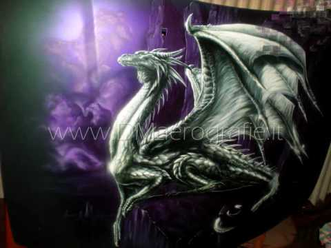 Airbrush Painting Dragon On Bonnet Step By Step Youtube