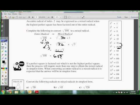 Unit 3 Lesson 6 Math10 Mixed Radicals
