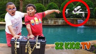 DRONE MASTER  Delivers Secret Box In ZZ Kids Pool! (What's Inside)