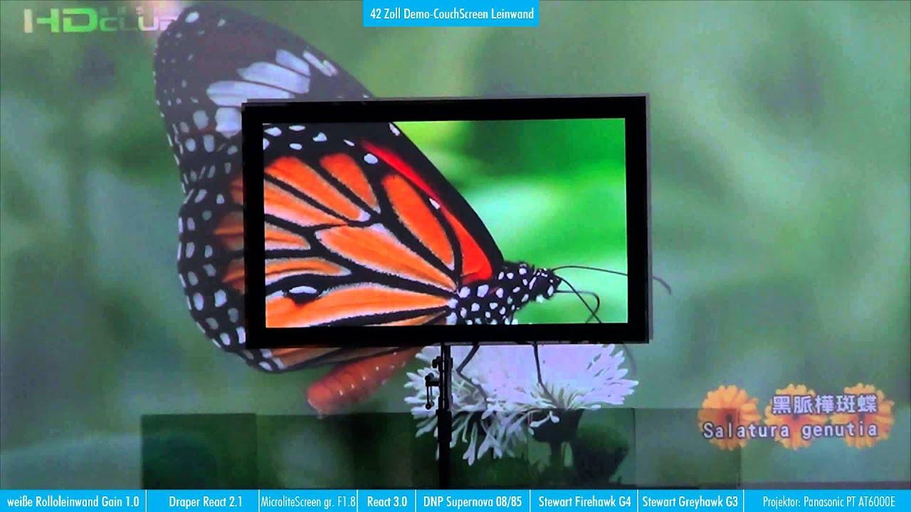 Beamerleinwandtest bzw vergleich von hochkontrastleinw nden f r wohnzimmer youtube - Couchscreen leinwand ...