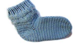 Как вязать носки крючком Детские носки 3-4 года Вяжем по схемам
