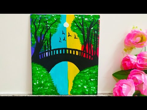 Bridge Landscape Scenery Acrylic Painting Step by Step for Kids | Very Easy Multicolor Painting
