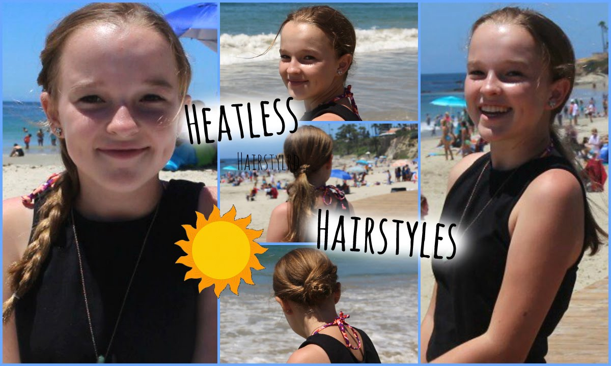 heatless hairstyles for hot weather! (perfect for summer!) - youtube