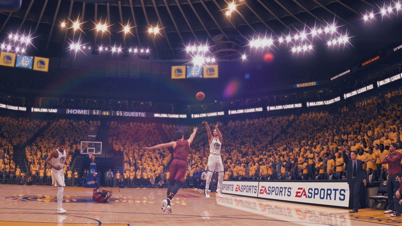 NBA Live 18: Cavs vs Warriors - LeBron Vs Steph Duel in Final Minute - CRAZY - YouTube