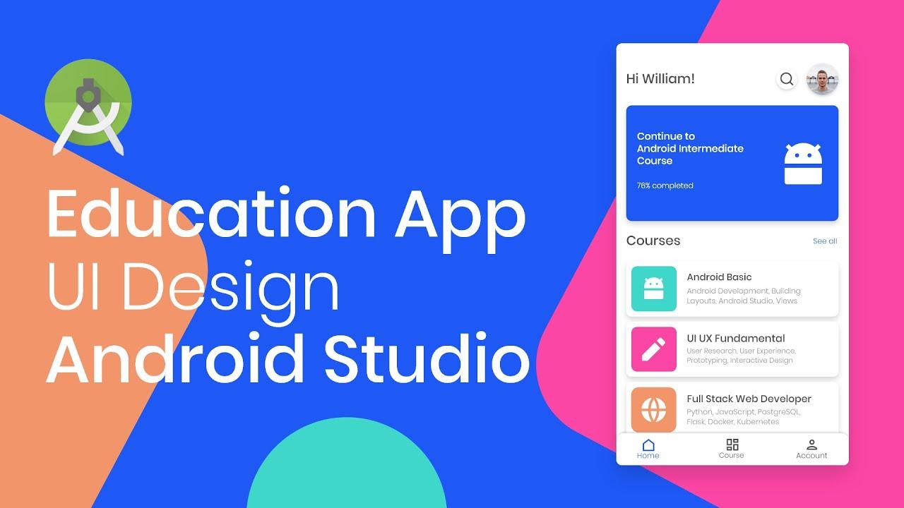 Designing Online Course Education App UI Design - Adobe XD to Android Studio (Part 3)