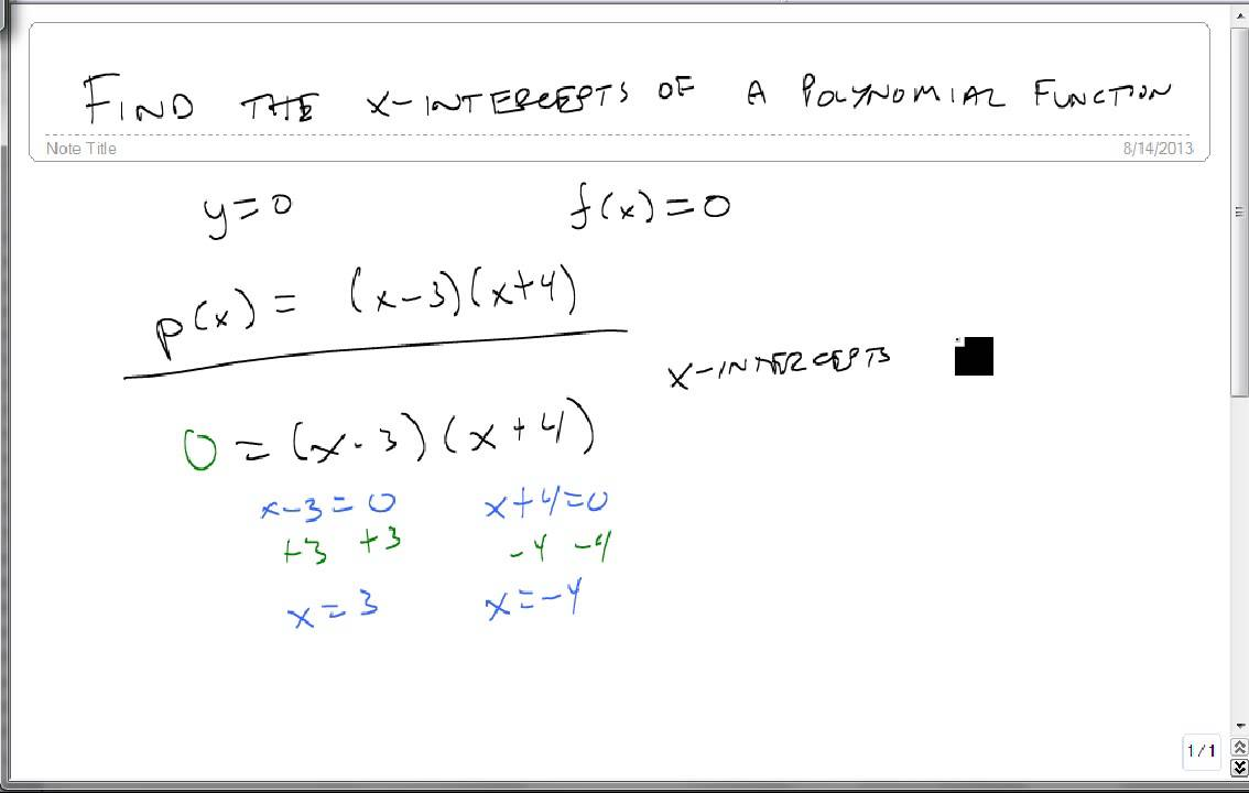 find the x intercepts of a polynomial function