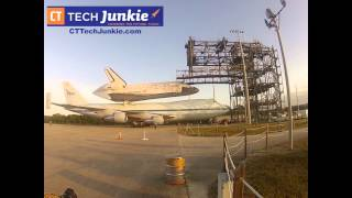 Space Shuttle Discovery Attached to 747 Carrier Aircraft