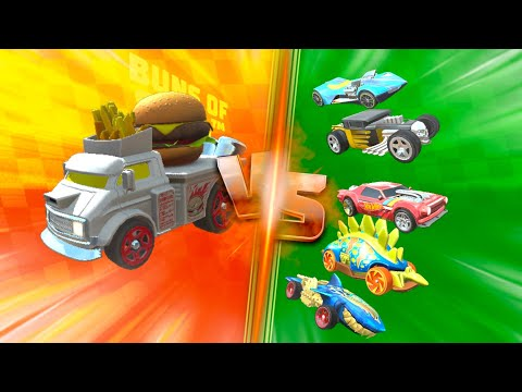 Hot Wheels Unlimited Random Track Challenge Race Buns Of Steel Fast Foodie Stunts Android IOS Game |