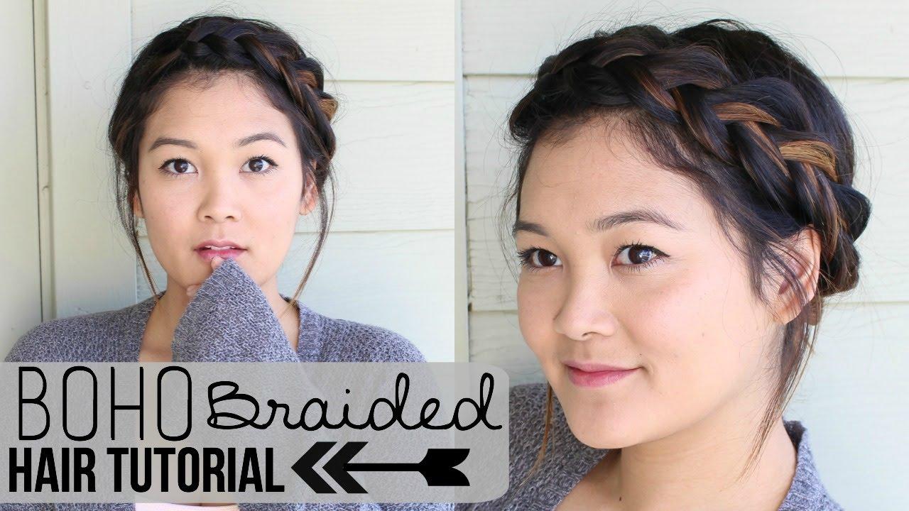 boho braided updo hair tutorial