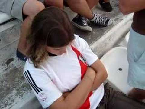 Niamh Connolly asleep at a River Plate game