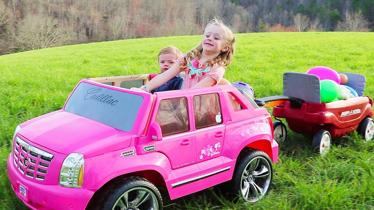 2953662222d Driving Barbie Power Wheels Ride on Car   Giant Surprise Egg Hunt W  American  Girl Bitty Baby