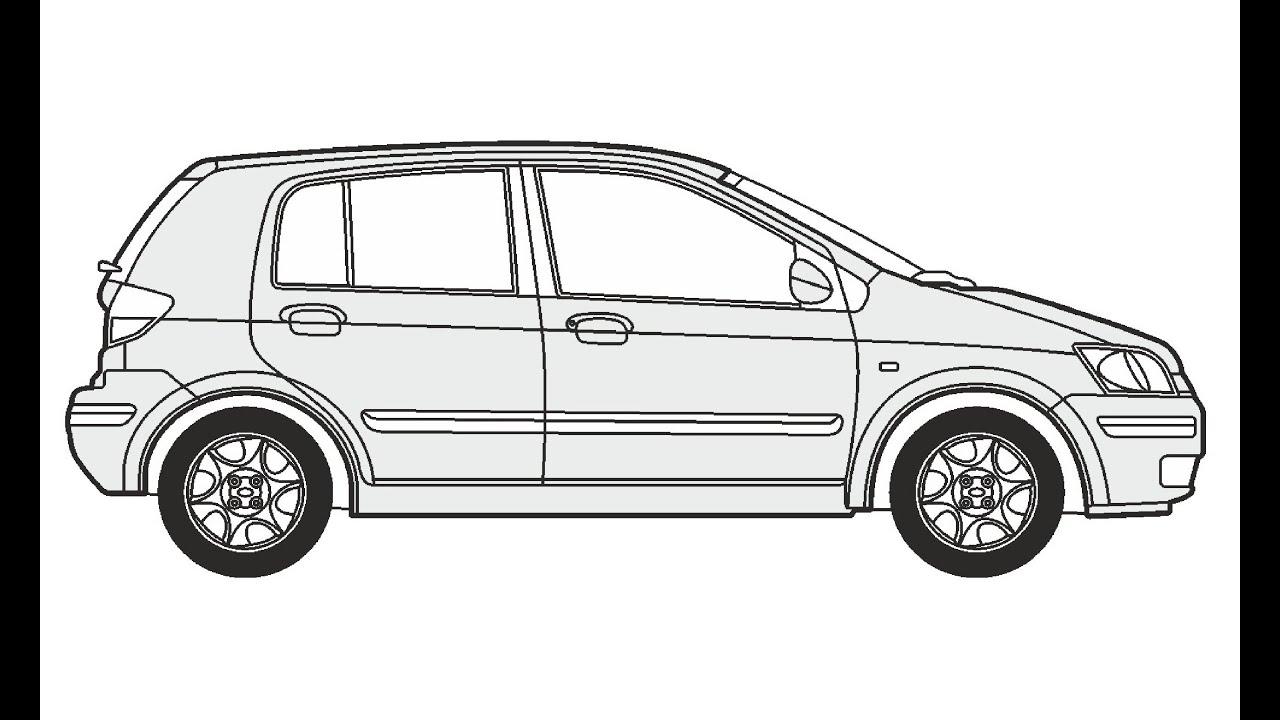 How to Draw a Hyundai Getz / Как нарисовать Hyundai Getz