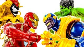 Залізна Людина проти Таноса іграшки сцени бійки Халка футів, отрута - іграшки супергероїв Марвел
