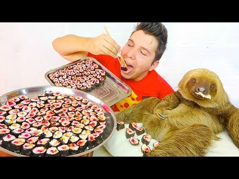 200 Sushi Challenge With My Sloth • MUKBANG
