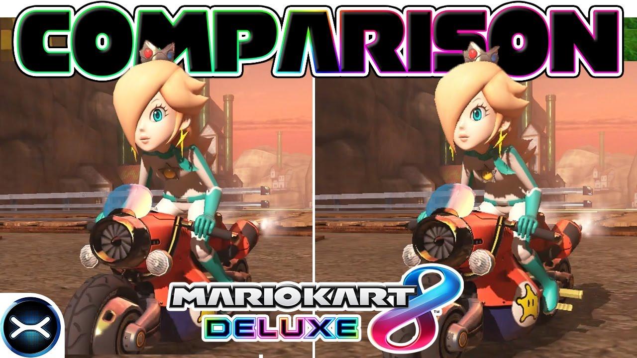 Mario Kart 8 Deluxe Head To Head Comparison On 3 Tracks Nintendo Switch Vs Wii U Graphics