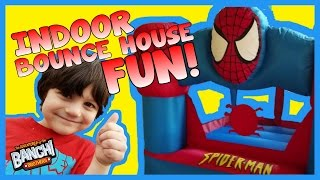 Spiderman Bounce House Indoor Fun!   Banchi Brothers Playtime   not hobbykids