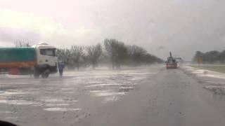 Granizo en la autopista Santa Fe - Rosario