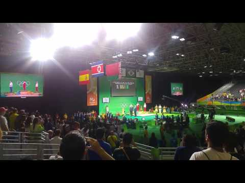 Rio Olympics weightlifting North Korea medal ceremony and anthem
