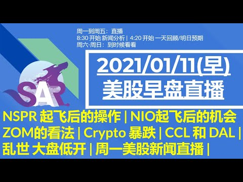 美股直播01/11-(早)-nspr-起飞后的操作-|-nio起飞后的机会-|-zom的看法-|-crypto-暴跌-|-ccl-和-dal-|乱世-大盘低开-|-周一美股新闻直播-|