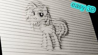 Как нарисовать простой рисунок 3D ПОНИ ВИНИЛ СКРЕТЧ карандашом. / Drawing 3D  My Little Pony Vinyl(Простой рисунок получает объем из за линий . Попробуй это повторить! ПРОСТЫЕ 3D рисунки - http://www.youtube.com/playlist?list=..., 2016-01-24T19:38:08.000Z)