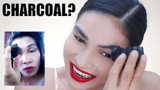 I Tried Following ERIKA EMBANG Makeup Tutorial! Using CHARCOAL for Eyebrows?