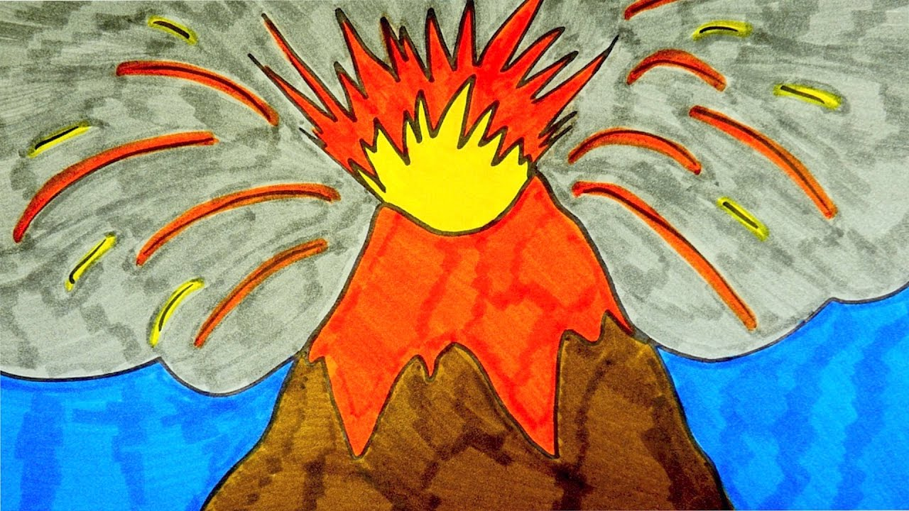 how to draw a volcano kids coloring video youtube