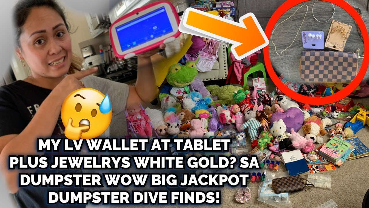 DUMPSTER DIVING MASSIVE FINDS LOUIS VUITTON WALLET,JEWELRY'S, TABLET,TV AND STUFF TOYS AND MANY MORE