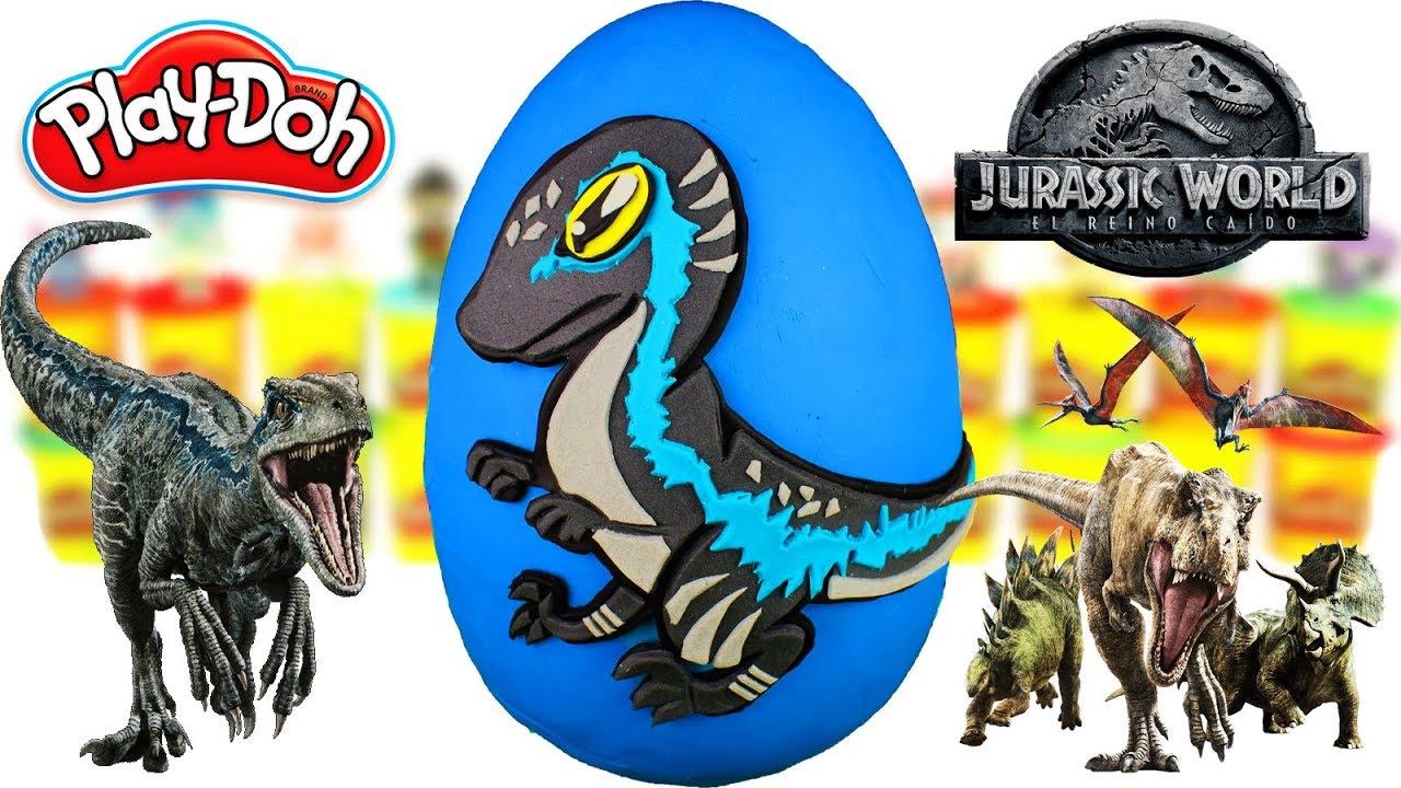 Huevo Sorpresa Gigante de Blue Velociraptor Bebe de Jurassic World 2 Plastilina Play doh Español